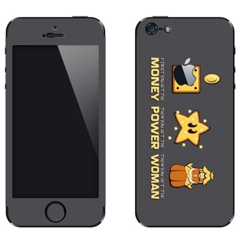 Виниловая наклейка «Super Mario : Money, power, woman» на телефон Apple iPhone 5