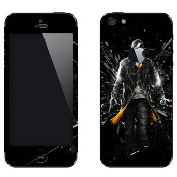 Виниловая наклейка «Watch Dogs - Эйден Пирс и осколки стекла» на телефон Apple iPhone 5
