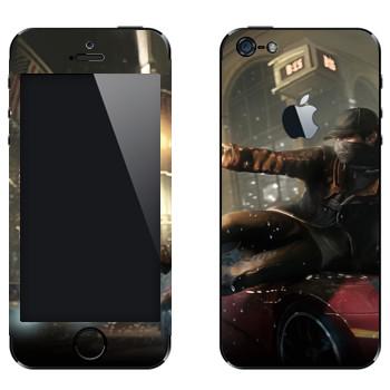 Виниловая наклейка «Watch Dogs - Эйден Пирс скользит по машине» на телефон Apple iPhone 5