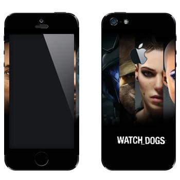 Виниловая наклейка «Watch Dogs - Все персонажи» на телефон Apple iPhone 5