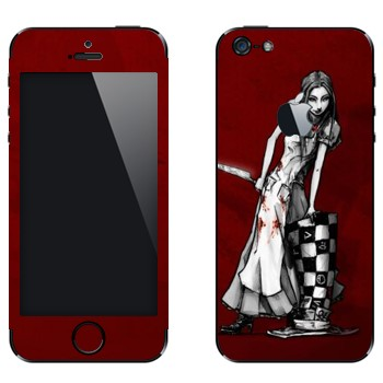 Виниловая наклейка «Алиса черно-белая - Алиса: безумие возвращается» на телефон Apple iPhone 5