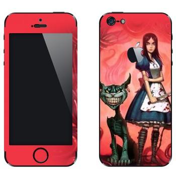 Виниловая наклейка «Алиса и Чеширский кот - Алиса: безумие возвращается» на телефон Apple iPhone 5