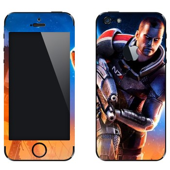 Виниловая наклейка «Капитан Шепард - Mass effect» на телефон Apple iPhone 5