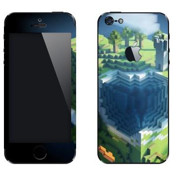 Виниловая наклейка «Куб Minecraft» на телефон Apple iPhone 5