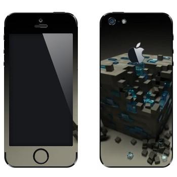 Виниловая наклейка «Куб майнкрафт» на телефон Apple iPhone 5