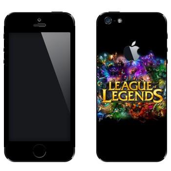 Виниловая наклейка «Лого League of Legends красочный» на телефон Apple iPhone 5