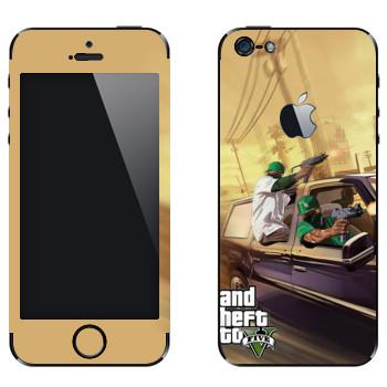 Виниловая наклейка «Нигеры с узи - GTA5» на телефон Apple iPhone 5