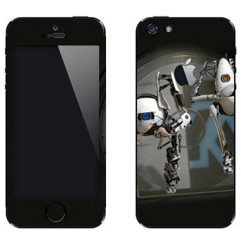 Виниловая наклейка «Роботы из Portal 2» на телефон Apple iPhone 5