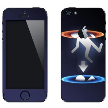 Виниловая наклейка «Телепортация - Portal 2» на телефон Apple iPhone 5