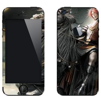 Виниловая наклейка «Воин на черном коне - Lineage II» на телефон Apple iPhone 5