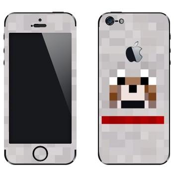 Виниловая наклейка «Волк - Minecraft» на телефон Apple iPhone 5
