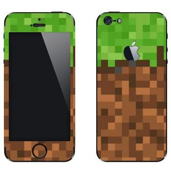 Виниловая наклейка «Земля в Minecraft» на телефон Apple iPhone 5
