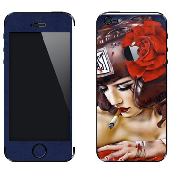 Виниловая наклейка «Девушка в защитном шлеме Evillast» на телефон Apple iPhone 5