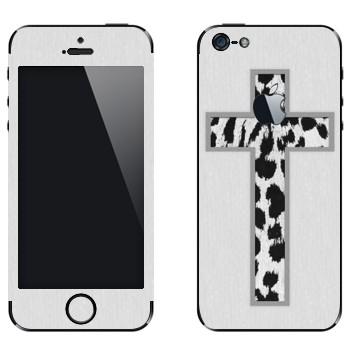 Виниловая наклейка «Крест из белой шкуры леопарда на белом» на телефон Apple iPhone 5