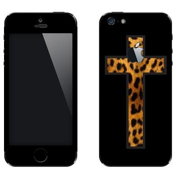 Виниловая наклейка «Крест из шкуры гепарда» на телефон Apple iPhone 5