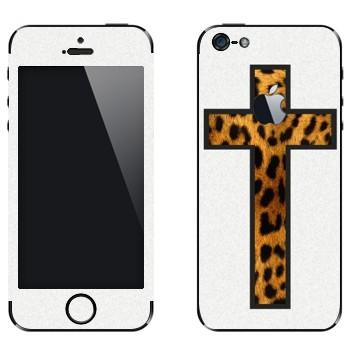 Виниловая наклейка «Крест из шкуры леопарда на белом» на телефон Apple iPhone 5