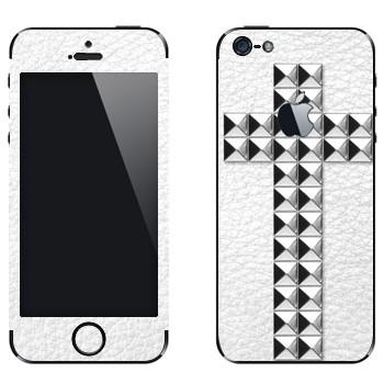 Виниловая наклейка «Крест серебряными заклепками на белом» на телефон Apple iPhone 5