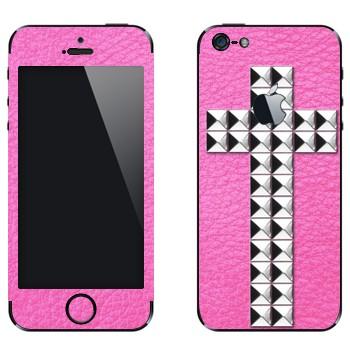 Виниловая наклейка «Крест серебряными заклепками на розовом» на телефон Apple iPhone 5