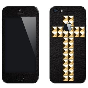 Виниловая наклейка «Крест золотыми заклепками» на телефон Apple iPhone 5