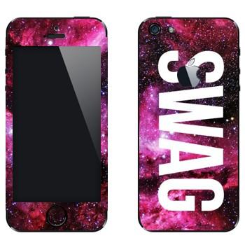 Виниловая наклейка «Надпись SWAG» на телефон Apple iPhone 5