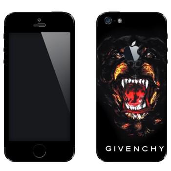 Виниловая наклейка «Ротвейлер Givenchy» на телефон Apple iPhone 5