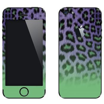 Виниловая наклейка «Шкура гепарда зелено-феолетовая» на телефон Apple iPhone 5