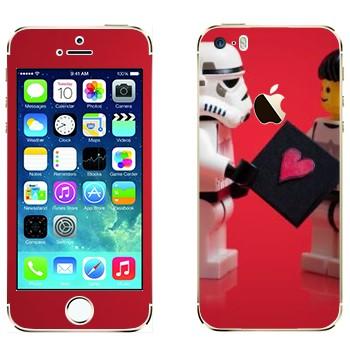Виниловая наклейка «Звездные войны - любовь - Лего» на телефон Apple iPhone 5S