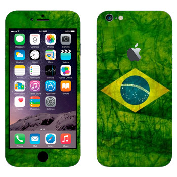 Виниловая наклейка «Флаг Бразилии» на телефон Apple iPhone 6 Plus/6S Plus