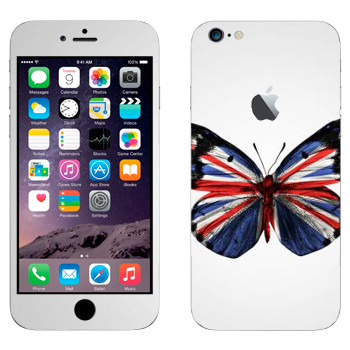 Виниловая наклейка «Флаг Британии на крыльях бабочки» на телефон Apple iPhone 6 Plus/6S Plus