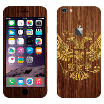 Виниловая наклейка «Герб России на дереве» на телефон Apple iPhone 6 Plus/6S Plus