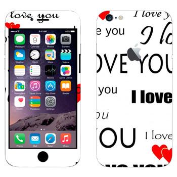 Виниловая наклейка «I Love You - День Святого Валентина» на телефон Apple iPhone 6 Plus/6S Plus