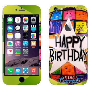 Виниловая наклейка «Большая звезда Happy birthday» на телефон Apple iPhone 6 Plus/6S Plus