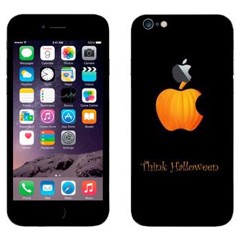 Виниловая наклейка «Лого Apple в виде тыквы - Хэллоуин» на телефон Apple iPhone 6 Plus/6S Plus