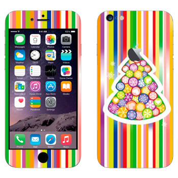 Виниловая наклейка «Новогодняя елка из разноцветных снежинок» на телефон Apple iPhone 6 Plus/6S Plus