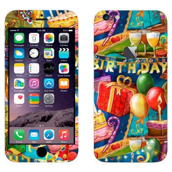 Виниловая наклейка «Праздник День рождения» на телефон Apple iPhone 6 Plus/6S Plus