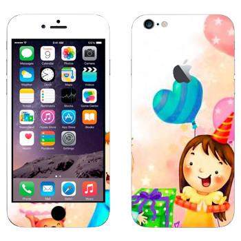 Виниловая наклейка «Принимаем подарки в день рождения» на телефон Apple iPhone 6 Plus/6S Plus