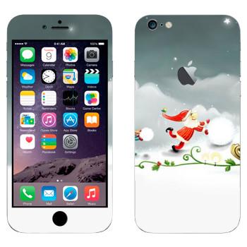 Виниловая наклейка «Санта-Клаус делает снеговика» на телефон Apple iPhone 6 Plus/6S Plus