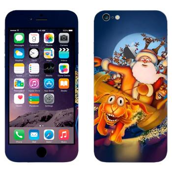 Виниловая наклейка «Санта-Клаус и веселые олени» на телефон Apple iPhone 6 Plus/6S Plus
