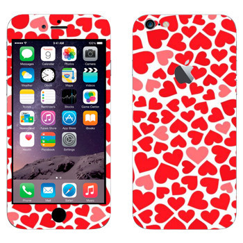Виниловая наклейка «Сердечки - День Святого Валентина» на телефон Apple iPhone 6 Plus/6S Plus