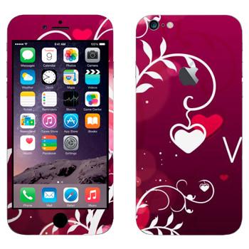 Виниловая наклейка «Сердечки на День Святого Валентина» на телефон Apple iPhone 6 Plus/6S Plus