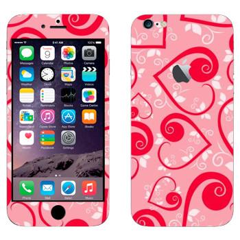 Виниловая наклейка «Сердечки на розовом ко Дню Святого Валентина» на телефон Apple iPhone 6 Plus/6S Plus
