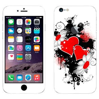 Виниловая наклейка «Сердца и ромашки - День Святого Валентина» на телефон Apple iPhone 6 Plus/6S Plus