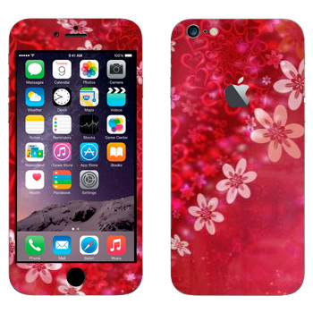 Виниловая наклейка «Сердце из цветов на День Святого Валентина» на телефон Apple iPhone 6 Plus/6S Plus
