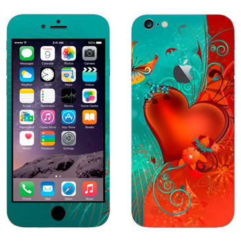 Виниловая наклейка «Сердце сине-красный фон - День Святого Валентина» на телефон Apple iPhone 6 Plus/6S Plus