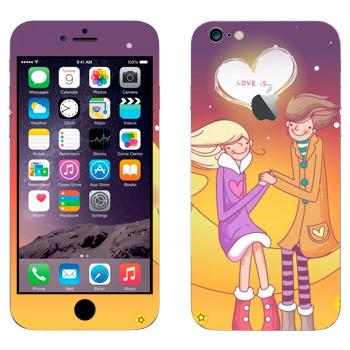 Виниловая наклейка «Влюбленные сидят на Луне - День Святого Валентина» на телефон Apple iPhone 6 Plus/6S Plus