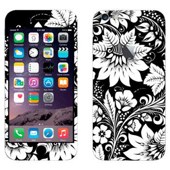 Виниловая наклейка «Хохлома черно-белые цветы» на телефон Apple iPhone 6 Plus/6S Plus
