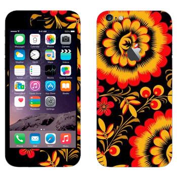 Виниловая наклейка «Хохлома желто-оранжевая на черном фоне» на телефон Apple iPhone 6 Plus/6S Plus