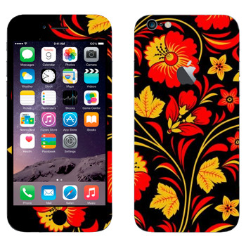Виниловая наклейка «Хохлома красные цветы на черном» на телефон Apple iPhone 6 Plus/6S Plus