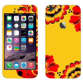 Виниловая наклейка «Хохлома красные цветы на желтом» на телефон Apple iPhone 6 Plus/6S Plus