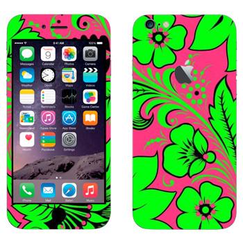Виниловая наклейка «Хохлома ярко-зеленый цветок» на телефон Apple iPhone 6 Plus/6S Plus